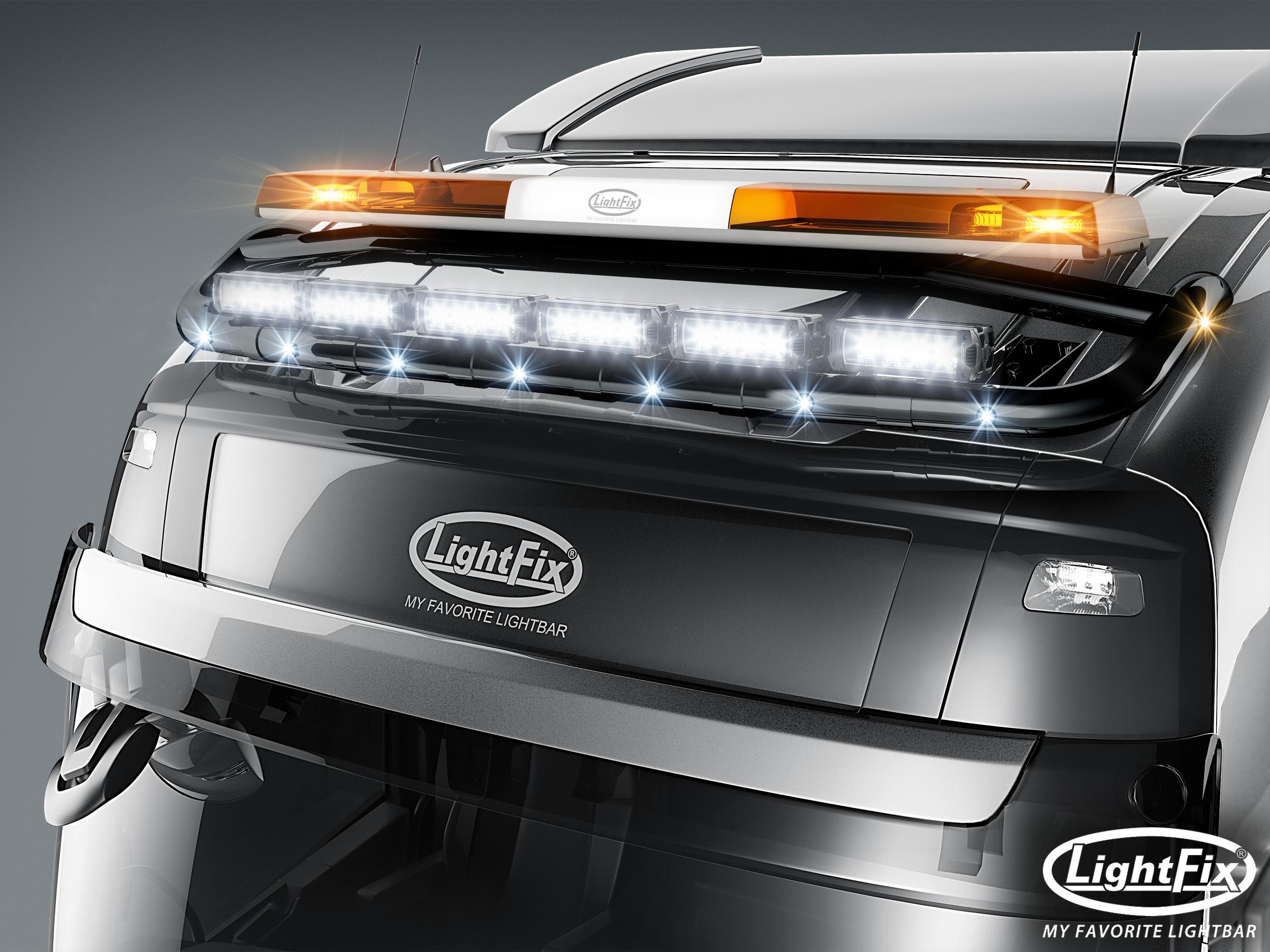Driver side WITH install kit 2012 Volvo VT800 DAYCAB Side Roof mount spotlight 100W Halogen -Black 6 inch